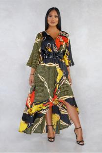 Gold Polyester Fashion Casual adult Sleeve 3/4 Length Sleeves V Neck Swagger Ankle-Length stringy selvedge backless hollow out Print Print Dresses AS721215
