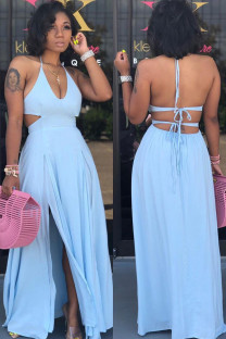 Light Blue Polyester Sexy Off The Shoulder Sleeveless Halter Neck Asymmetrical Floor-Length Solid asymmetrical bandage backless Casual Dresses JH113029
