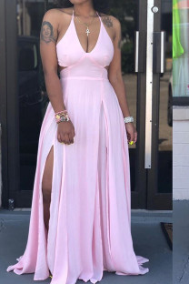Pink Polyester Sexy Off The Shoulder Sleeveless Halter Neck Asymmetrical Floor-Length Solid asymmetrical bandage backless Casual Dresses JH113029