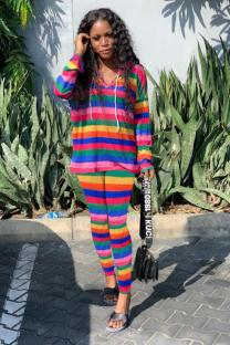 Rainbow color Polyester Active Striped pencil Long Sleeve Two-piece Pants Set MR061194