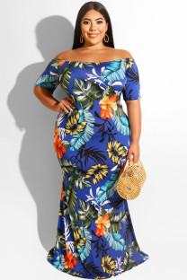 Navy Blue Polyester Sexy Cap Sleeve Short Sleeves One word collar Step Skirt Floor-Length Print Plus Size Dresses OH56031