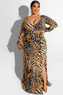 Black Polyester adult Sexy Fashion Cap Sleeve Long Sleeves V Neck A-Line Floor-Length bandage Print split Plus Size Dresses OH56037