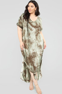 Khaki Polyester Sexy Cap Sleeve Short Sleeves O neck Step Skirt Ankle-Length Print Tie and dye Plus Size Dresses OH56036