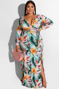 Multi-color Polyester adult Sexy Fashion Cap Sleeve Long Sleeves V Neck A-Line Floor-Length bandage Print split Plus Size Dresses OH56037