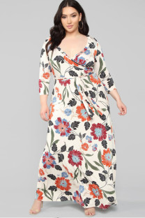 Apricot Polyester Sexy Cap Sleeve 3/4 Length Sleeves V Neck Step Skirt Ankle-Length Print Plus Size Dresses OH56028
