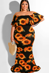Black Polyester Sexy Ruffled Sleeve Short Sleeves One word collar Step Skirt Floor-Length Print Plus Size Dresses OH56034