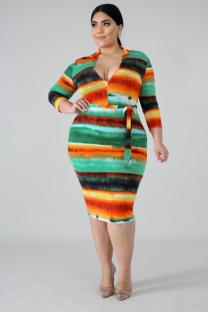 Stripe Polyester adult Sexy Fashion Cap Sleeve 3/4 Length Sleeves V Neck Step Skirt Mid-Calf Rainbow Striped chain Print Plus Size Dresses IF65025