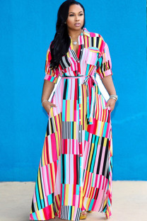 Multi-color Polyester pastoral Shirt sleeves Short Sleeves Notched Step Skirt Floor-Length Striped Plus Size Dresses IF65022