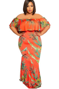 Orange Polyester Sexy Ruffled Sleeve Short Sleeves One word collar A leaf skirt Floor-Length Print Plus Size Dresses IF65024