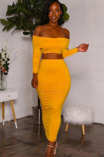 Yellow Milk Silk Sexy Solid Two Piece Suits Patchwork pencil Long Sleeve Two-Piece Dress LZ121264