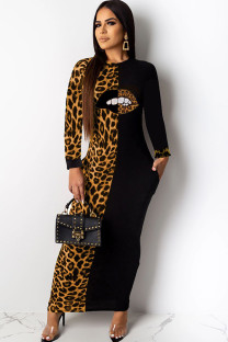 Brown Polyester Casual Cap Sleeve Long Sleeves O neck Step Skirt Ankle-Length Print lip Leopard Long Sleeve Dresses LO441259