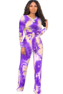 purple venetian Lightly cooked Two Piece Suits Print Loose Long Sleeve Two-piece Pants Set MM92174