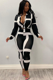 Black and white Polyester Casual Print Two Piece Suits Striped pencil Long Sleeve Two-piece Pants Set XM106011