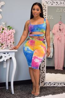multicolor Polyester Casual adult Fashion Tie Dye Print Two Piece Suits pencil Sleeveless Two-Piece Short Set VM94160