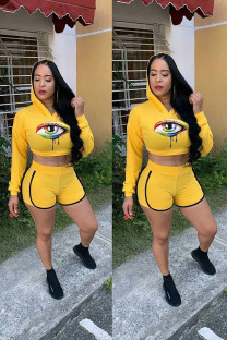 Yellow Polyester Fashion adult Street Print Two Piece Suits Solid Eyes Printed Straight Long Sleeve Two-Piece Short Set YF102045