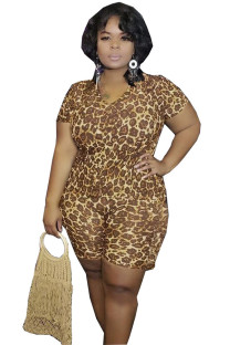 Coffee Polyester Fashion Sexy adult V Neck Leopard Two Piece Suits Weave Plus Size Two Pieces IF65039