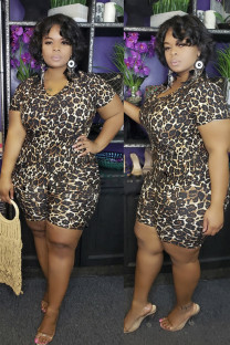 Black Polyester Fashion Sexy adult V Neck Leopard Two Piece Suits Weave Plus Size Two Pieces IF65039