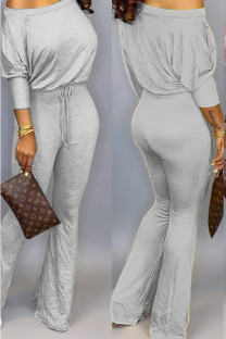 Grey Polyester Casual Two Piece Suits Solid Loose Long Sleeve Two-piece Pants Set SD421265