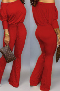 Red Polyester Casual Two Piece Suits Solid Loose Long Sleeve Two-piece Pants Set SD421265