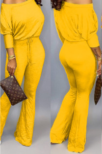 Yellow Polyester Casual Two Piece Suits Solid Loose Long Sleeve Two-piece Pants Set SD421265