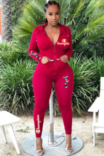 Red venetian Active Embroidery Two Piece Suits Print Straight Long Sleeve Two-piece Pants Set ZM104024