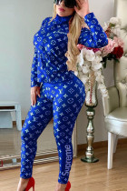 Royal blue Polyester Active Letter Print Two Piece Suits Patchwork pencil Long Sleeve Two-piece Pants Set FN231269