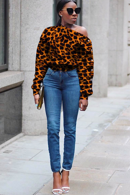 Leopard print One Shoulder Collar Print Polyester Print Long Sleeve Sweats & Hoodies SM781194