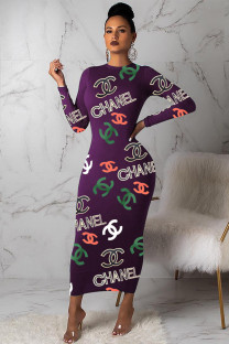 purple Polyester Celebrities Cap Sleeve Long Sleeves O neck Pencil Dress Ankle-Length Print Print Dresses BM115032
