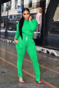 Green Polyester Drawstring Long Sleeve Mid Solid pencil Pants RM88154