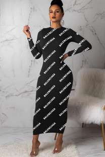 Black Polyester Sexy Cap Sleeve Long Sleeves O neck Step Skirt Ankle-Length Print Print Dresses MD621241
