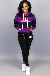 purple Polyester Active Two Piece Suits Letter Patchwork Embroidery Straight Long Sleeve GL221279