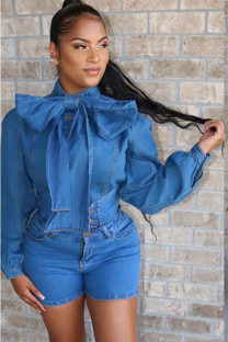 The cowboy blue Denim Street Two Piece Suits Solid Straight Long Sleeve Two-Piece Short Set OF108042