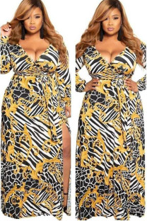 Yellow Polyester Celebrities Cap Sleeve Long Sleeves V Neck Swagger Floor-Length Print Print Dresses DF25048