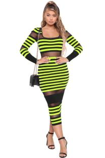 Green Polyester Europe and America Fashion adult Cap Sleeve Long Sleeves O neck Step Skirt Mid-Calf hollow out Patchwork Mesh Print Fluorescent Club Dresses LR2610222