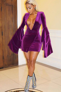purple Polyester Sexy Bell sleeve Long Sleeves V Neck Step Skirt skirt Solid Club Dresses DF25046
