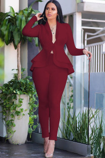 Wine Red Polyester Casual Two Piece Suits Patchwork ruffle Solid pencil Long Sleeve Two-piece Pants Set CM401228