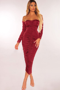 Wine Red Milk. Sexy Off The Shoulder Long Sleeves Wrapped chest Step Skirt Mid-Calf Patchwork asymmetrical Solid Club Dresses LR2610227