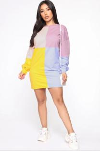 Yellow Polyester Sexy Fashion adult Cap Sleeve Long Sleeves O neck Step Skirt Mini Colouring Print Long Sleeve Dresses SI110047