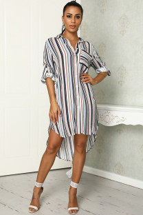 Khaki Polyester Fashion adult Casual Cap Sleeve Long Sleeves Turndown Collar Straight Mid-Calf fastener Striped asymmetrical Print Long Sleeve Dresses SI110048