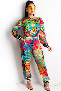 Red venetian Sexy Two Piece Suits Print Patchwork Straight Long Sleeve Two-piece Pants Set CY771250
