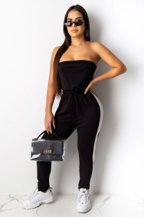 Black Fashion Sexy Solid Patchwork Polyester Sleeveless Wrapped Jumpsuits CY771251