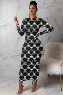 Black adult Casual Fashion Polyester O Neck Print Letter Casual Dresses FS34030