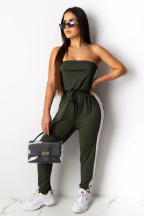 Dark green Fashion Sexy Solid Patchwork Polyester Sleeveless Wrapped Jumpsuits CY771251