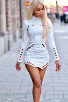 White Polyester Street Cap Sleeve Long Sleeves Turtleneck Step Skirt skirt hollow out Solid chain Club Dresses NY641177