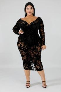 Black Lace adult Fashion Sexy V Neck lace perspective Pattern Plus Size Dresses OS411275