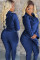 Blue Polyester adult Sexy Fashion Solid Fluorescent Zippered Two Piece Suits Stringy selvedge pencil Long Sleeve Two-piece Pants Set AS721227
