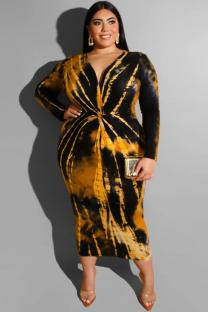 Yellow Polyester adult Sexy Fashion V Neck Print Tie Dye Plus Size Dresses OH56042