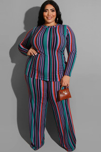 Green Polyester Sexy O Neck Two Piece Suits Print Striped Stripe Plus Size Two Pieces OH56045
