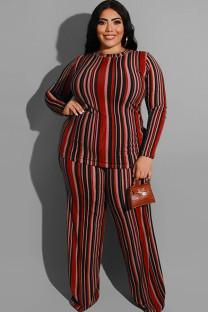 Wine Red Polyester Sexy O Neck Two Piece Suits Print Striped Stripe Plus Size Two Pieces OH56045