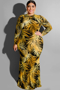 Yellow Polyester Sexy O Neck HOLLOWED OUT Print Pattern Plus Size Dresses OH56043